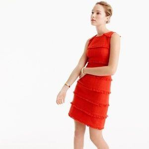 NWOT J. Crew Red Orange Tweed Fringed Sheath Dress
